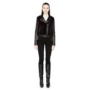 Mackage Tamika Leather Ombre Dyed Fur Moto Jacket